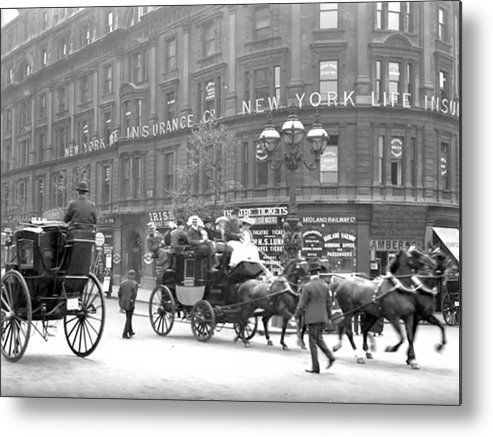 New York Ny City Horse Men Man Building Vintage 1898 Street Metal Print featuring the photograph New York 1898 by Steve K