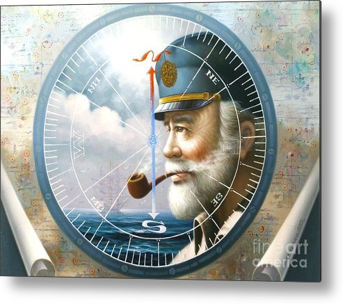 Sea Captain Metal Print featuring the painting News Map Captain Or Sea Captain by Yoo Choong Yeul