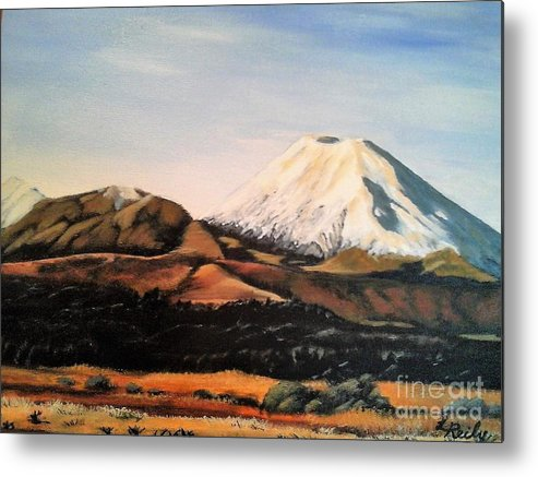 Landscape Metal Print featuring the painting Ngauruhoe Rising by Lynette Bell