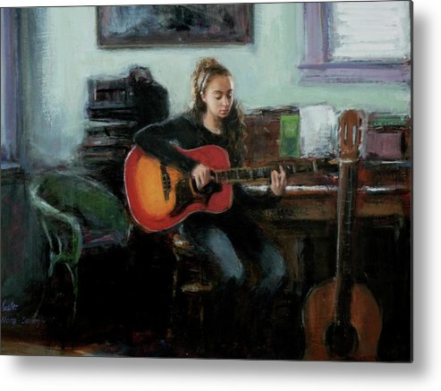 Music Metal Print featuring the painting Nora by Sarah Yuster