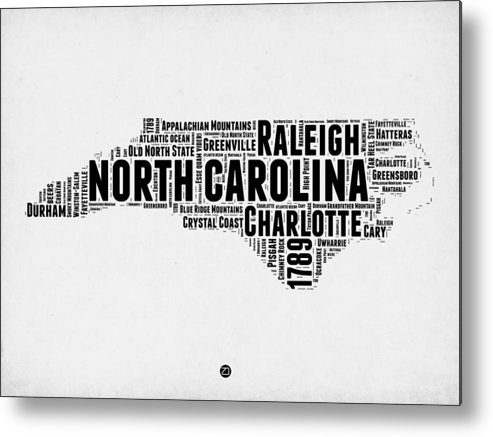 Metal Print featuring the digital art North Carolina Word Cloud Map 2 by Naxart Studio