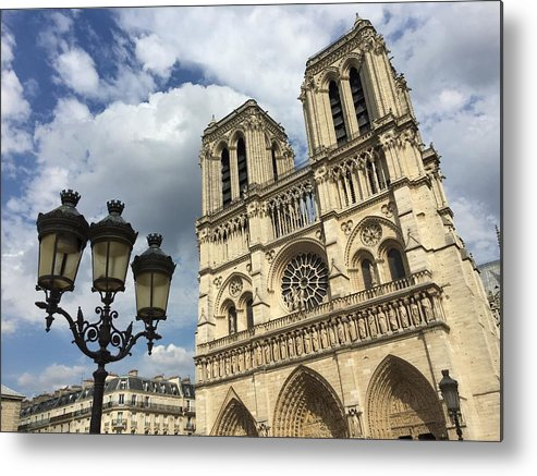 Paris Metal Print featuring the photograph Notre Dame And Lamppost by Dave Byers
