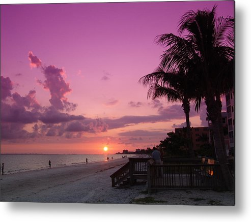 Sunset Metal Print featuring the photograph Now It Turns Purple by Florene Welebny