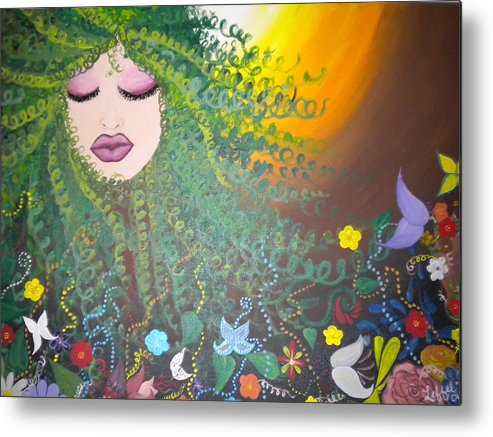 Face Metal Print featuring the painting Nurture by Hollie Leffel
