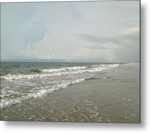 Ocean Metal Print featuring the photograph Ocean Waves At Sunrise by Carol Anne Dillon