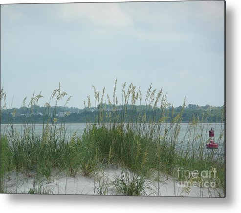 Scenery Metal Print featuring the photograph Oceanview Through Seaoats by Barb Montanye Meseroll