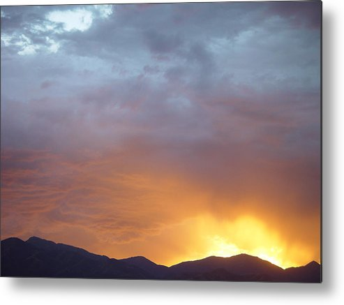 Ochre Mountains Metal Print featuring the painting Ochre Mountains Stormy Sunset by Derek Nielsen
