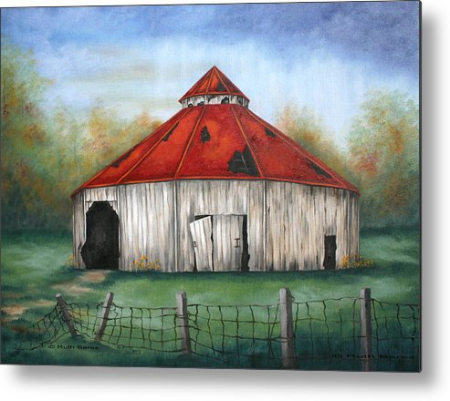 Barn Metal Print featuring the painting Octagen Barn by Ruth Bares