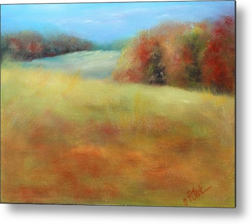 Fall Season Metal Print featuring the painting October Grazing Fields by Donna Pierce-Clark