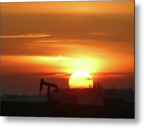 Horizontal Metal Print featuring the photograph Oil Pump Jack At Sunrise by Jack Dagley