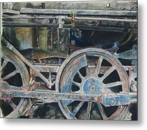 Railroad Engine Metal Print featuring the painting Ol' 97 by Dwight Williams