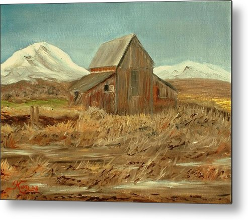 Landscape Barn Mountain Painting View Metal Print featuring the painting Old Barn And Mountain View by Kenneth LePoidevin
