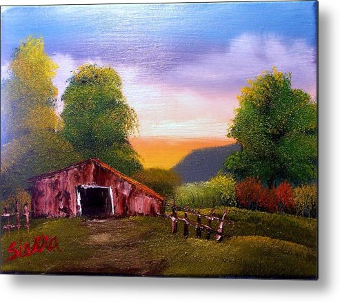 Barn Metal Print featuring the painting Old Barn In The Meadow by Dina Sierra