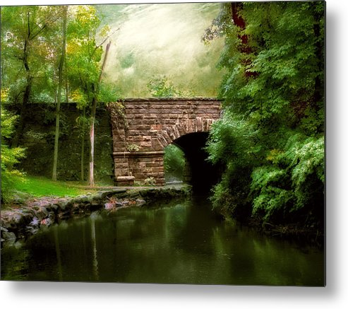 Old Countrybridge Green Art Metal Print featuring the photograph Old Country Bridge by Jessica Jenney