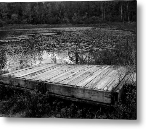 Indiana Landscape Metal Print featuring the photograph Old Dock At Dusk by Michael L Kimble