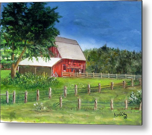 Barn Metal Print featuring the painting Old Red Barn by Amelie Gates