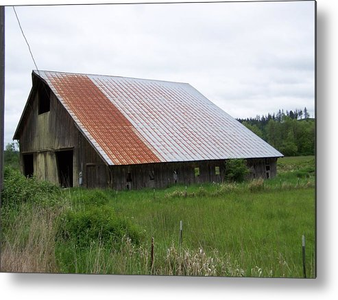 Barn Metal Print featuring the photograph Old Tin Roof Barn Washington State by Laurie Kidd