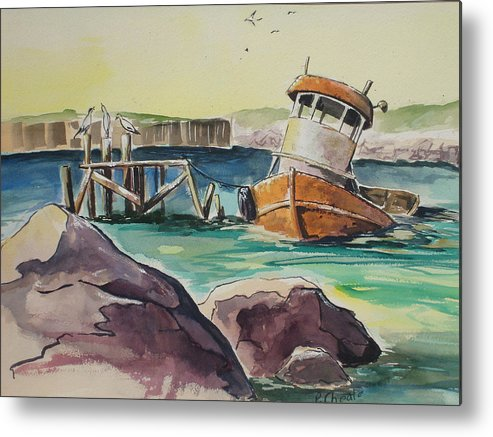 Seascape Metal Print featuring the painting Old Tug by Paul Choate