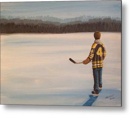 Bobby Orr Metal Print featuring the painting On Frozen Pond - Bobby by Ron Genest