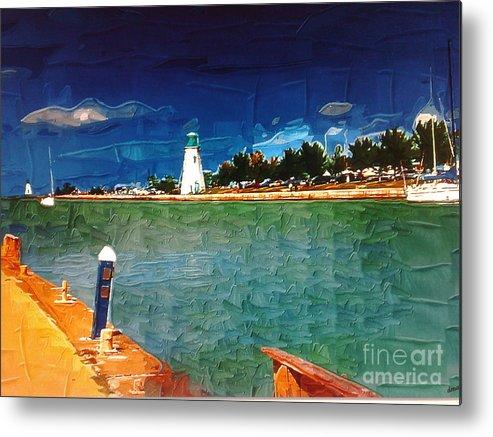 Port Dalhousie Metal Print featuring the painting On The Pier At Port by Deborah Selib-Haig DMacq