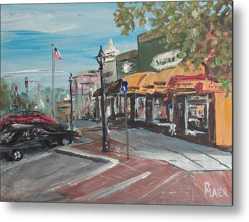 Downtown Metal Print featuring the painting On The Square by Pete Maier