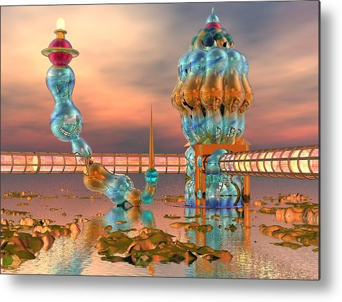 Landscape Metal Print featuring the digital art On Vacation by Dave Martsolf