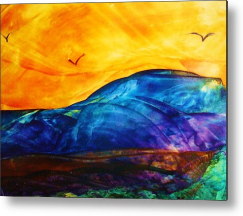Landscape Metal Print featuring the painting One Fine Day by Melinda Etzold