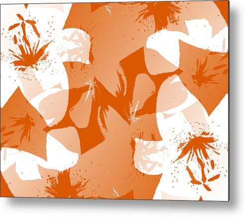 Botanical Metal Print featuring the digital art Orange Poster Lilies by Ruth Palmer