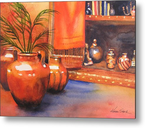 Pottery Metal Print featuring the painting Orange Scarf by Karen Stark