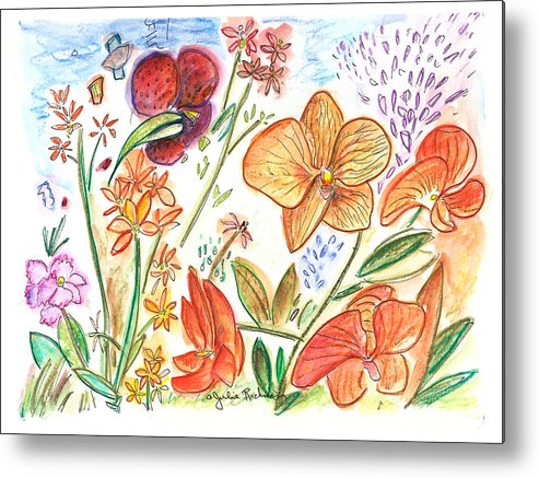 Flowers Metal Print featuring the painting Orchid No. 9 by Julie Richman