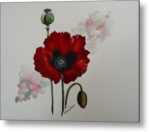 Floral Poppy Red Flower Metal Print featuring the painting Oriental Poppy by Karin Dawn Kelshall- Best