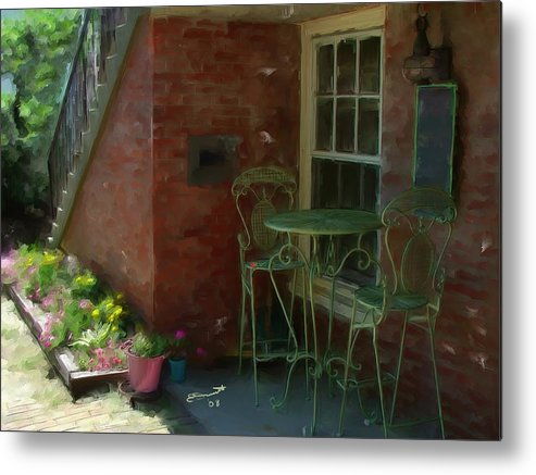Rose Street Table Wine Chairs Romance Cafe Dinner Lovers Massachusetts Quaint Newburyport Metal Print featuring the painting Other Ideas by Eddie Durrett