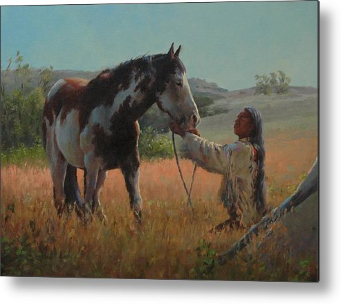 West Metal Print featuring the painting Ottumwa Dawn by Jim Clements