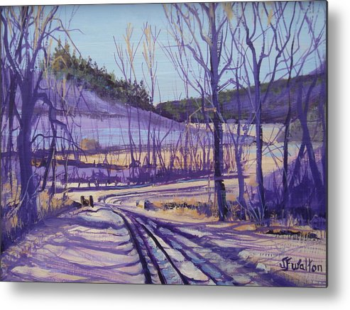 Winter Metal Print featuring the painting Over The Bridge And Through The Woods by Judy Fischer Walton