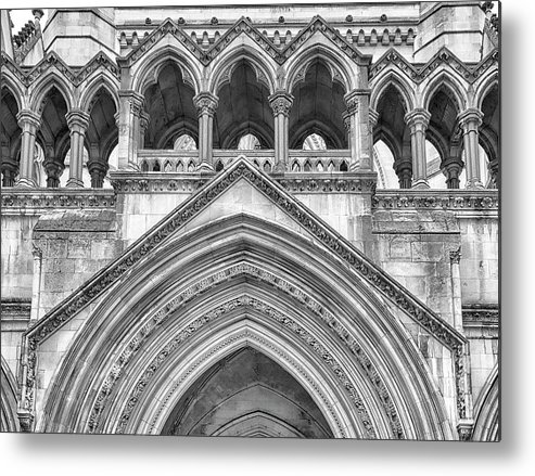 London Metal Print featuring the photograph Over The Entrance To The Royal Courts by Shirley Mitchell