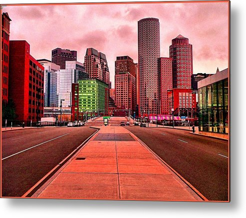 Cityscape Metal Print featuring the painting p1070558 Red City by Ed Immar