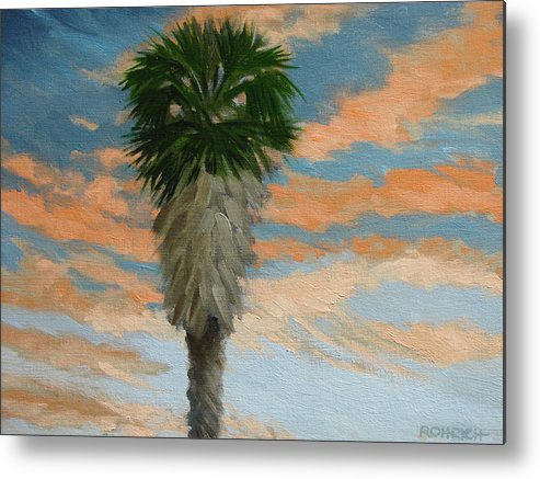 Landscape Metal Print featuring the painting Palm Sunrise by Robert Rohrich