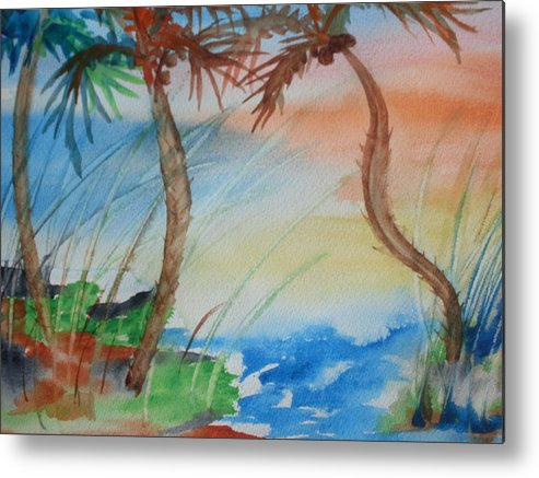 Palms Metal Print featuring the painting Palms At Sunset by Warren Thompson