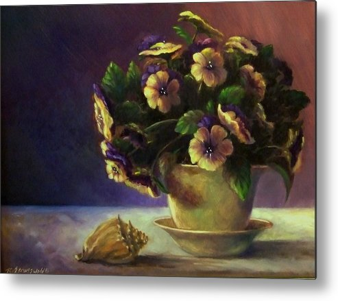 Shell Metal Print featuring the painting Pansies And Celadon by Ruth Stromswold