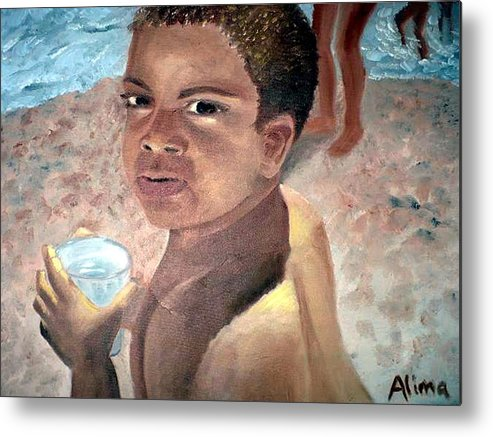 Portrait Metal Print featuring the painting Papa At The Beach by Alima Newton