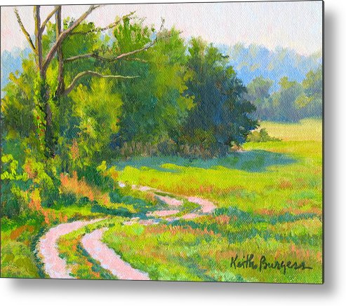 Landscape Metal Print featuring the painting Pasture Road by Keith Burgess