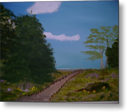 Landscape Metal Print featuring the painting Pathway by Dottie Briggs