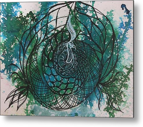Lotus Metal Print featuring the painting Peacock by Sonal Kanakdande