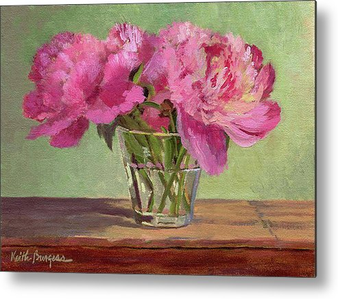 Still Metal Print featuring the painting Peonies In Tumbler by Keith Burgess