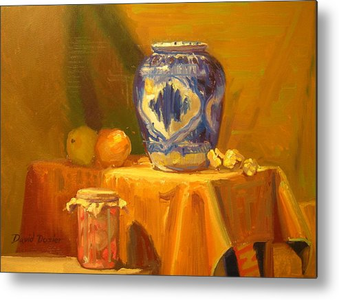 Still Life Metal Print featuring the painting Persian Vase And Fruit Jar by David Dozier