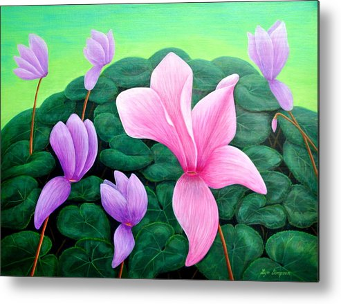 Flowers Metal Print featuring the painting Persian Violet Cyclamen by Lyn Simpson