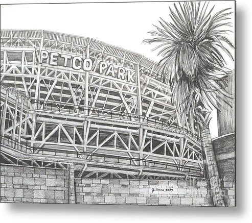 Petco Park Metal Print featuring the drawing Petco Park by Juliana Dube