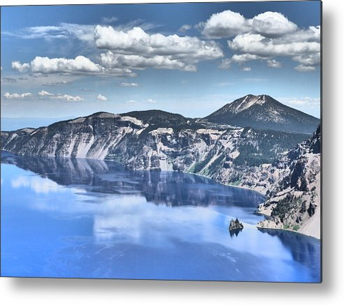 Crater Lake Phantom Ship Landscape Metal Print featuring the photograph Phantom Ship by John Mallonee