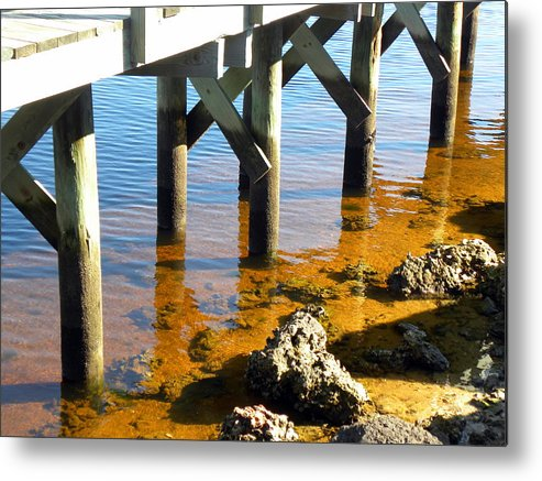 Metal Print featuring the photograph Pier Rocks by Janet Dickinson