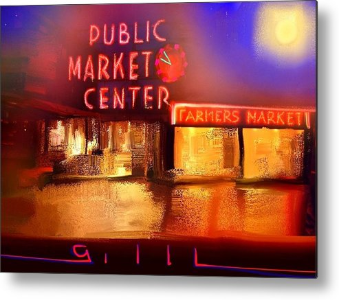 Seattle Metal Print featuring the painting Pike Place Market by Lee Gallaher